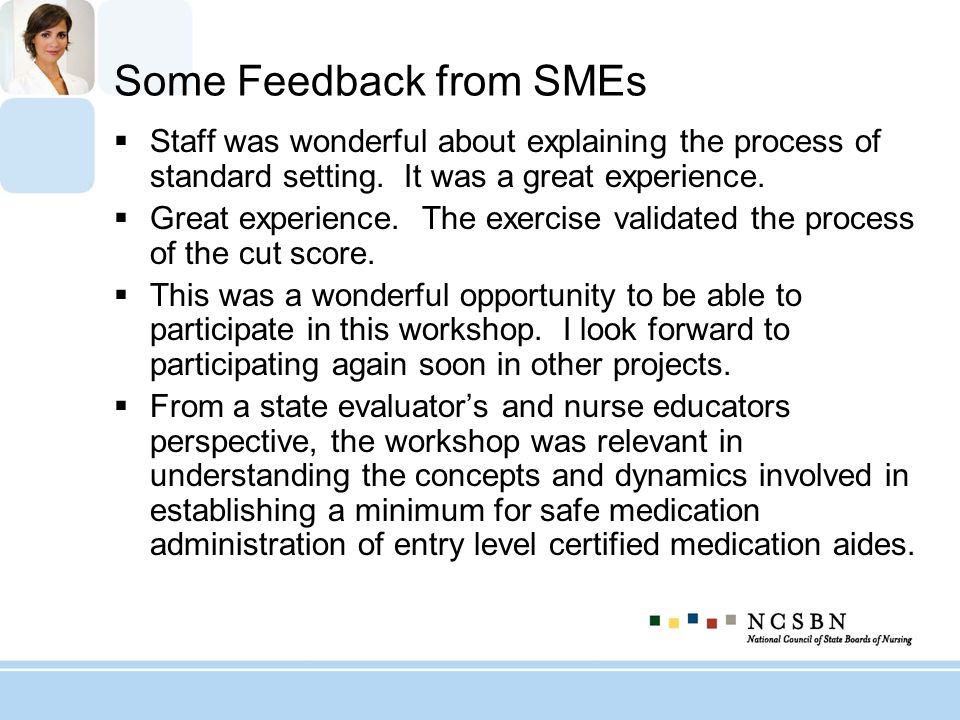 Some Feedback from SMEs