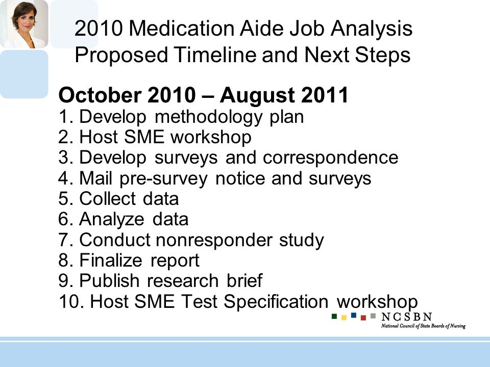 2010 Medication Aide Job Analysis Proposed Timeline and Next Steps