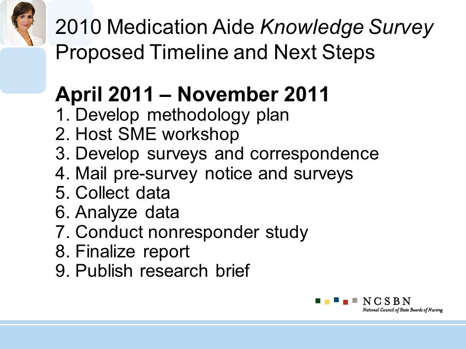 2010 Medication Aide Knowledge Survey Proposed Timeline and Next Steps