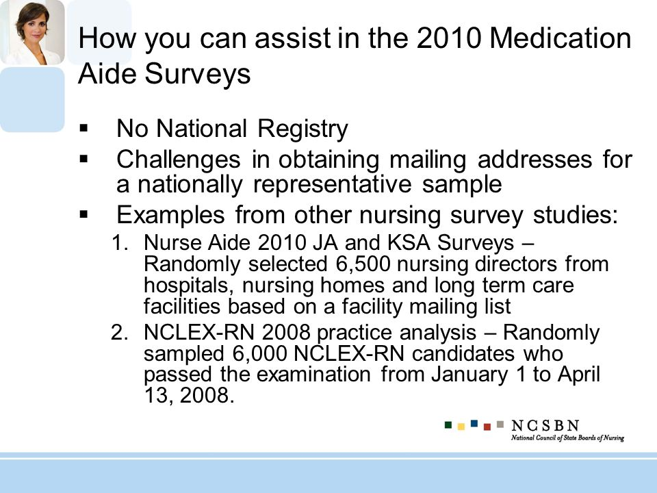 How you can assist in the 2010 Medication Aide Surveys