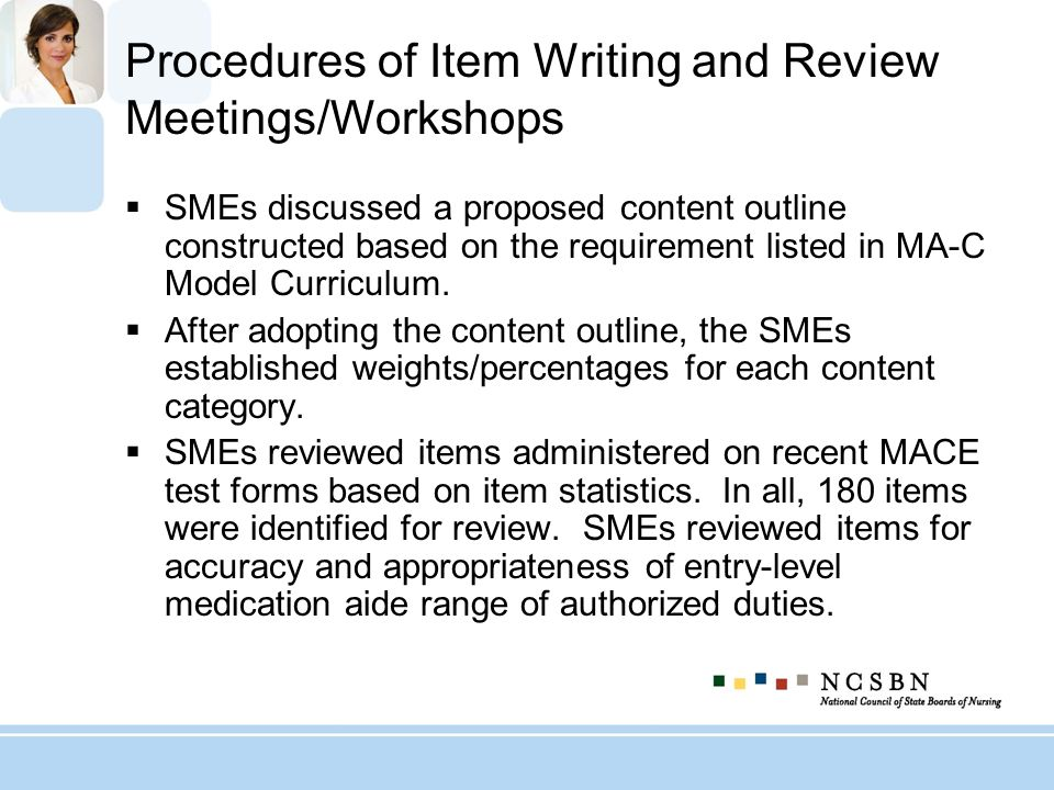 Procedures of Item Writing and Review Meetings/Workshops