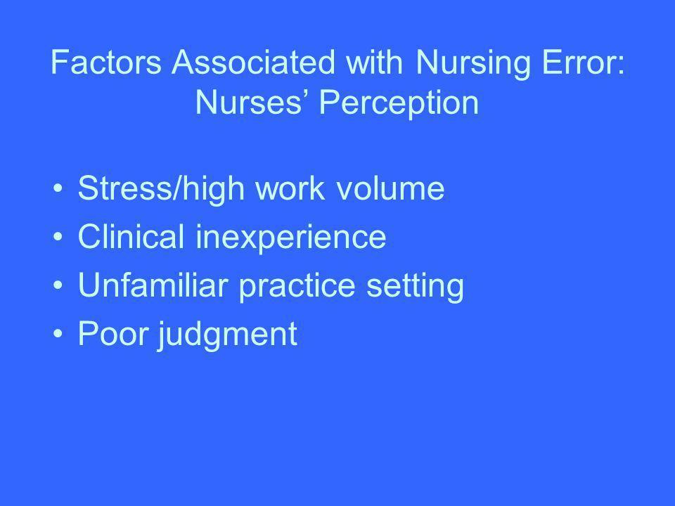 Factors Associated with Nursing Error: Nurses' Perception
