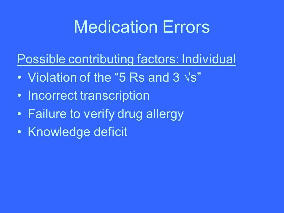 Medication Errors Possible contributing factors: Individual