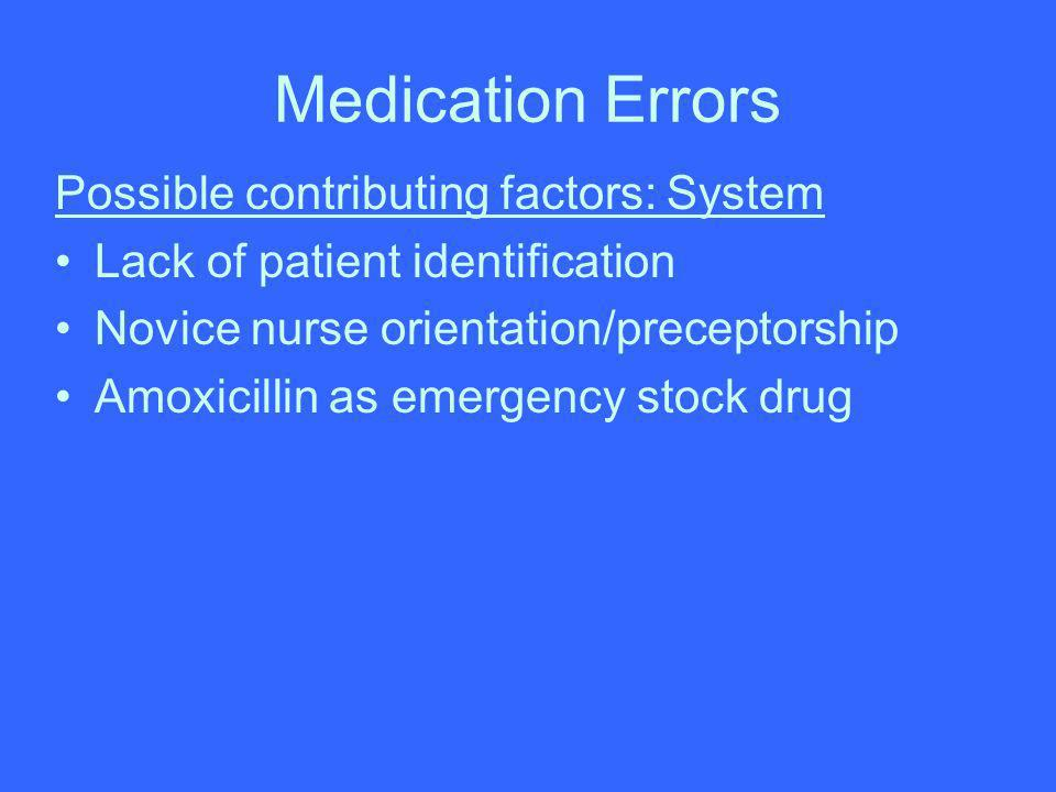 Medication Errors Possible contributing factors: System