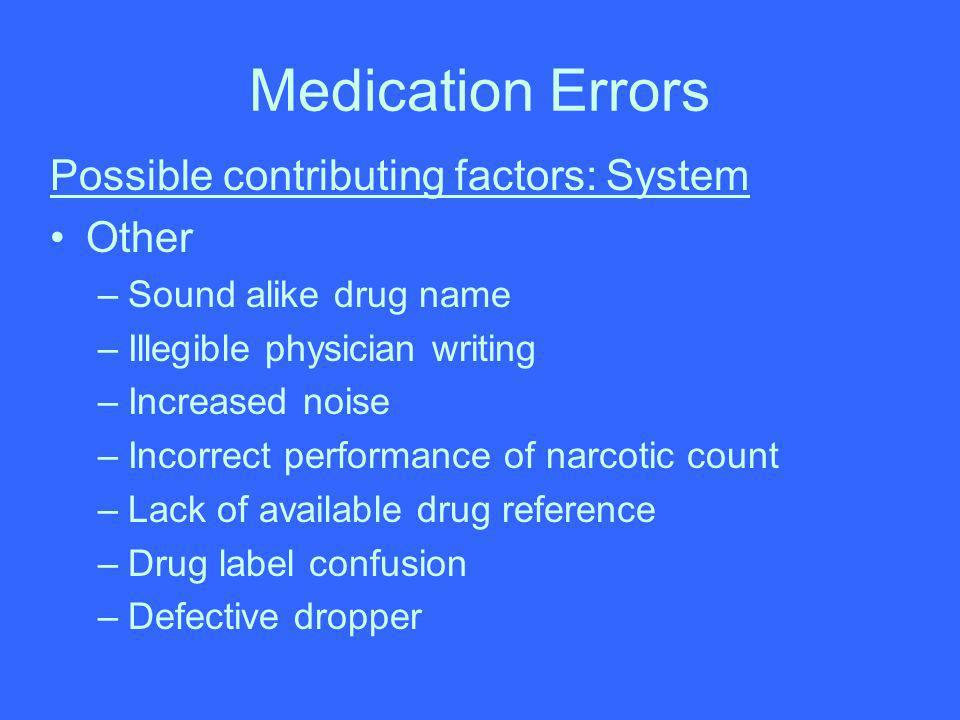 Medication Errors Possible contributing factors: System Other