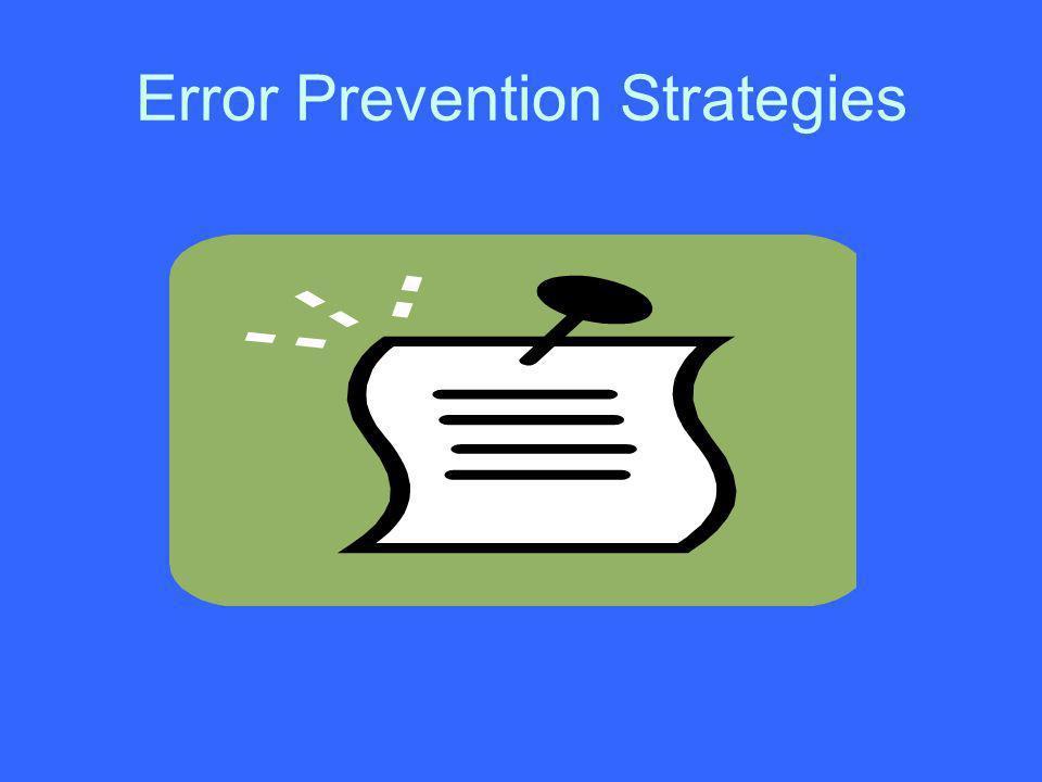 Error Prevention Strategies