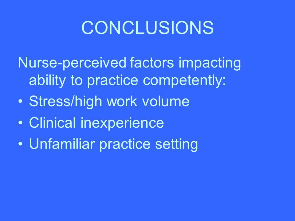 CONCLUSIONS Nurse-perceived factors impacting ability to practice competently: Stress/high work volume.