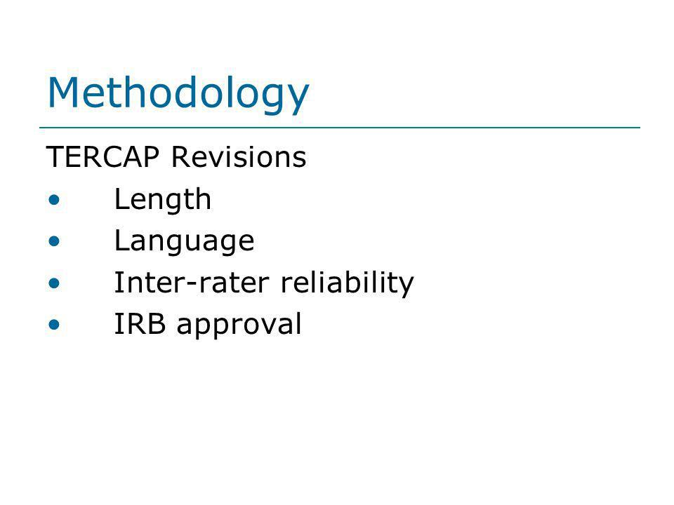 Methodology TERCAP Revisions Length Language Inter-rater reliability