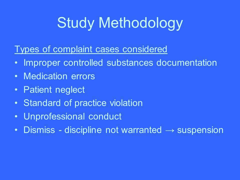 Study Methodology Types of complaint cases considered