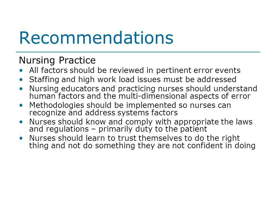 Recommendations Nursing Practice