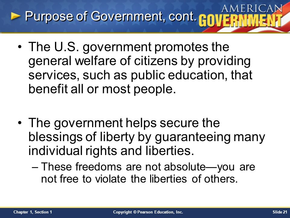 purpose of government Identifies the proper role of government and calls for lovers of liberty to save america by applying this principle to crucial issues of the day.