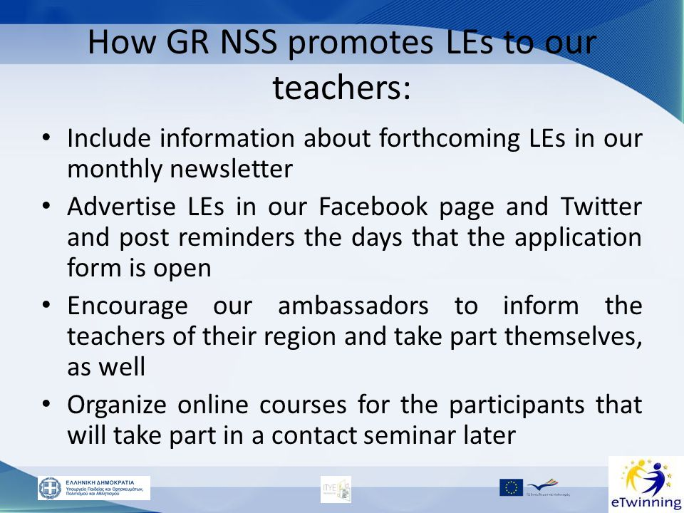 How GR NSS promotes LEs to our teachers: