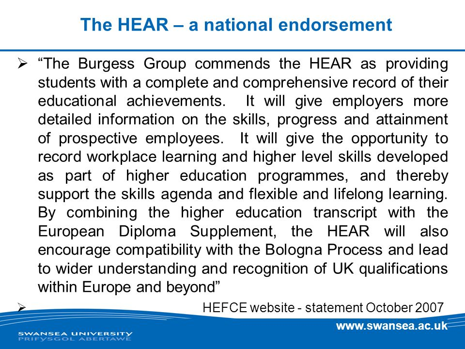 The HEAR – a national endorsement