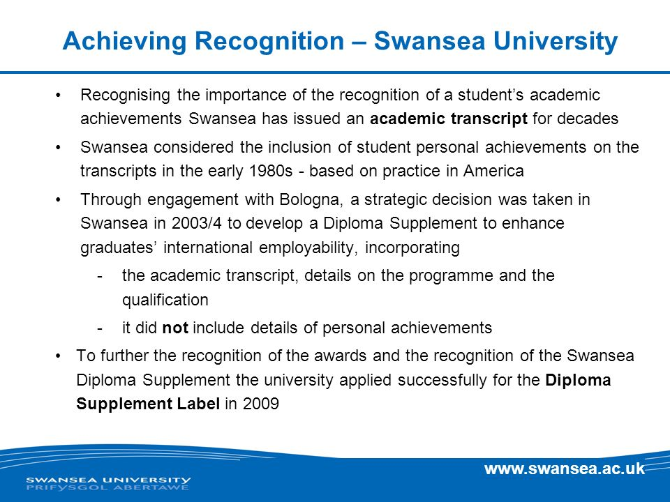 Achieving Recognition – Swansea University