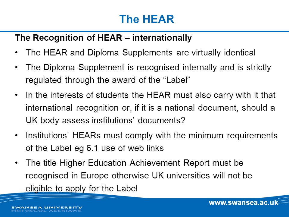 The HEAR The Recognition of HEAR – internationally