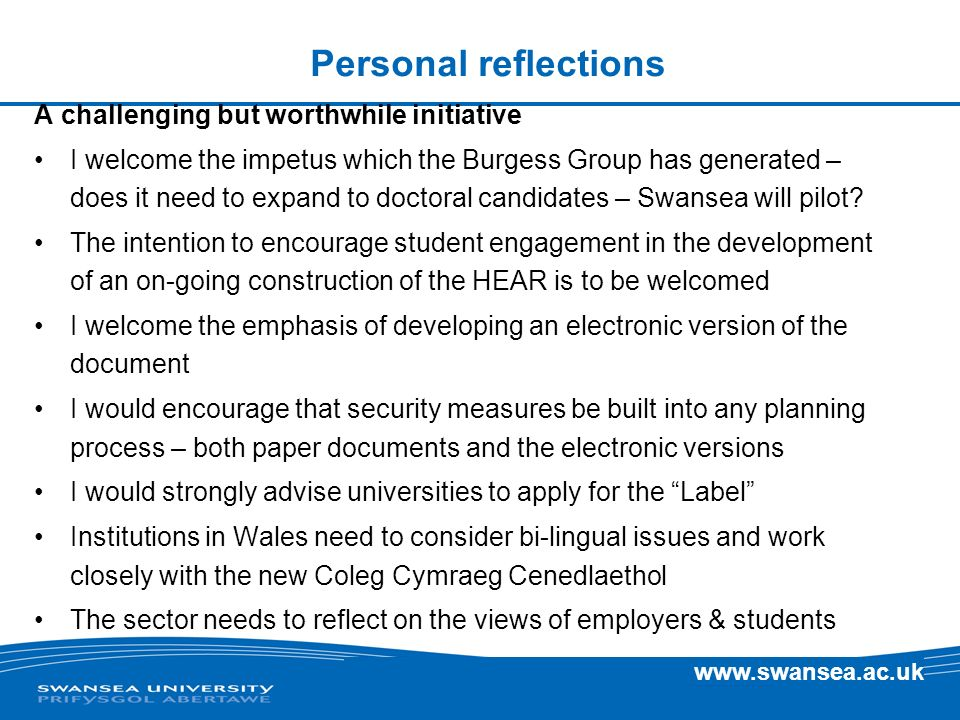 Personal reflections A challenging but worthwhile initiative