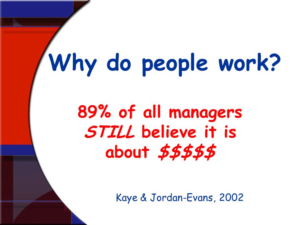 89% of all managers STILL believe it is about $$$$$