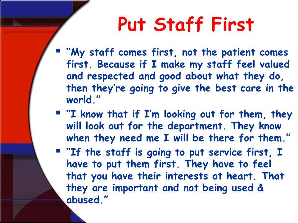 Put Staff First