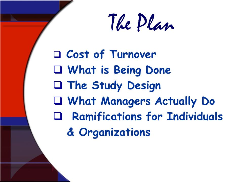 The Plan What is Being Done The Study Design What Managers Actually Do