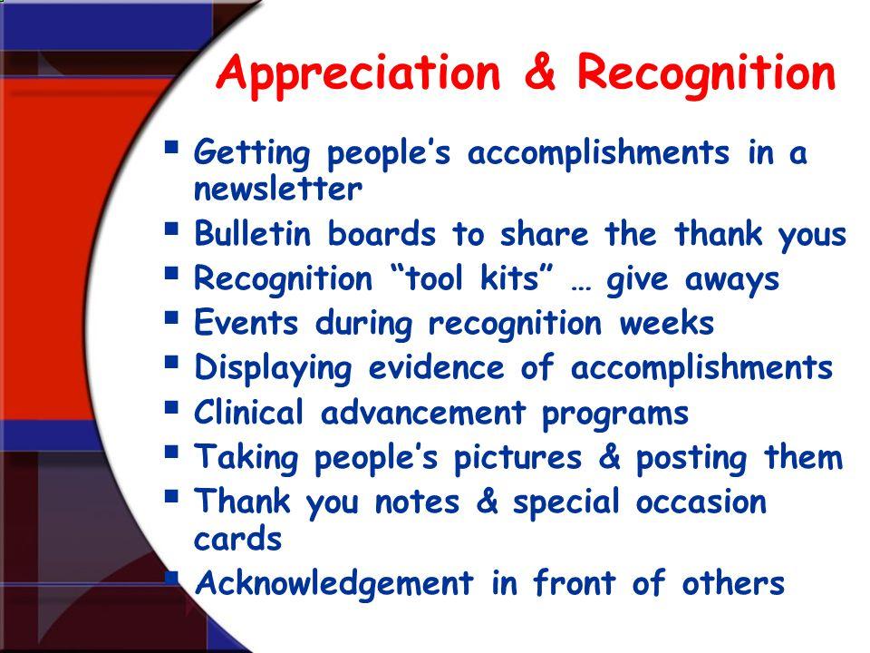 Appreciation & Recognition