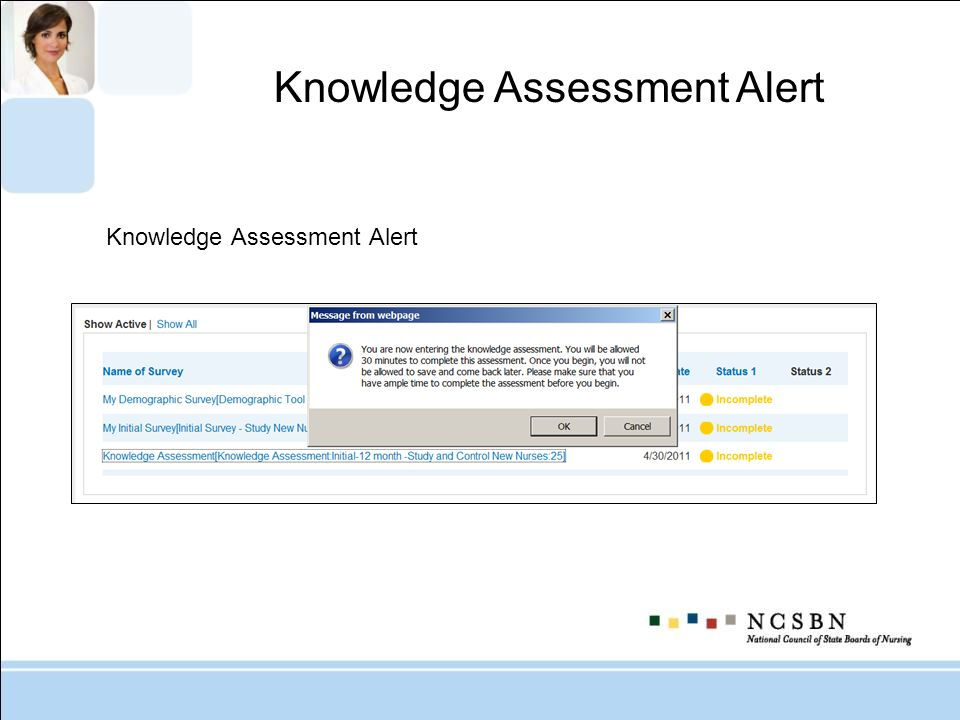 Knowledge Assessment Alert