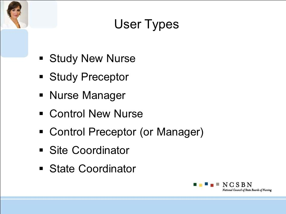 User Types Study New Nurse Study Preceptor Nurse Manager