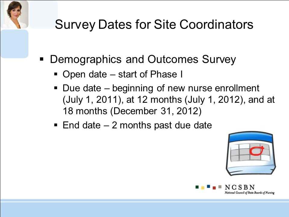 Survey Dates for Site Coordinators