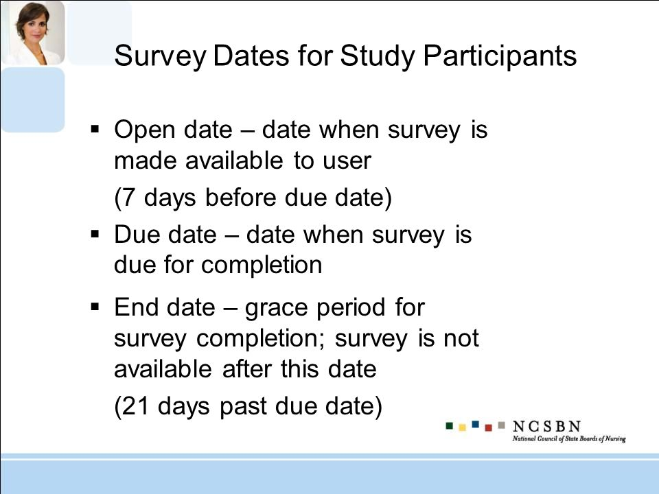 Survey Dates for Study Participants