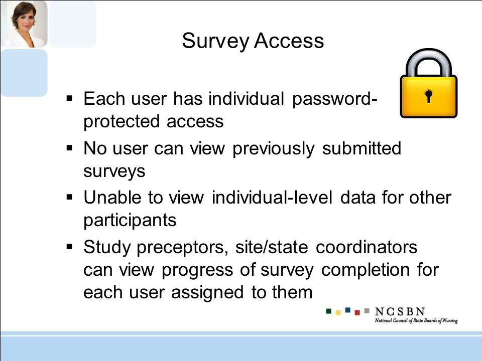 Survey Access Each user has individual password-protected access