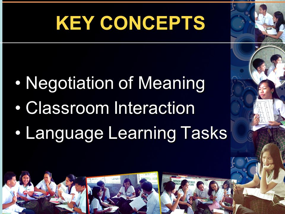 KEY CONCEPTS Negotiation of Meaning Classroom Interaction
