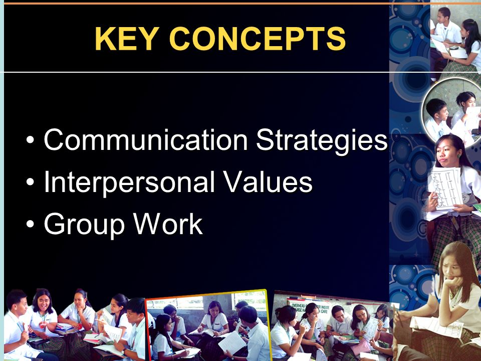 KEY CONCEPTS Communication Strategies Interpersonal Values Group Work