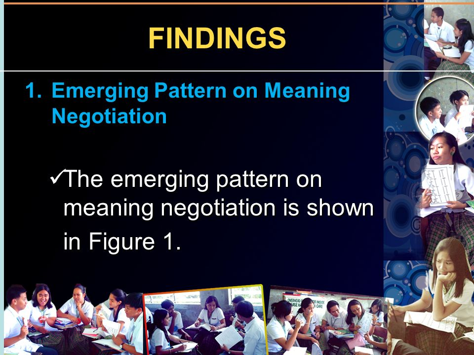 FINDINGS The emerging pattern on meaning negotiation is shown