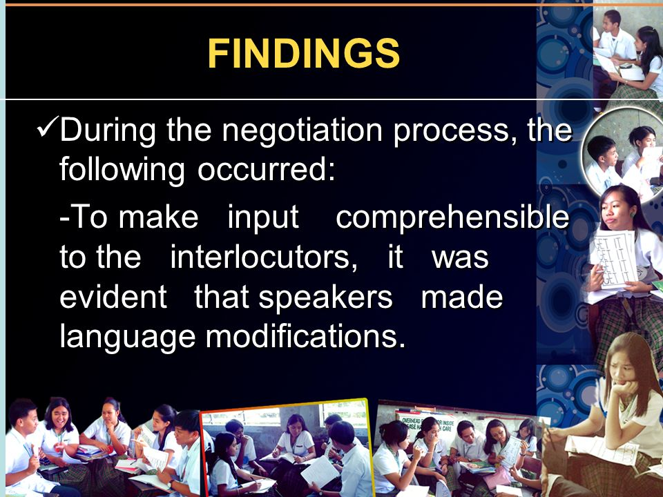 FINDINGS During the negotiation process, the following occurred: