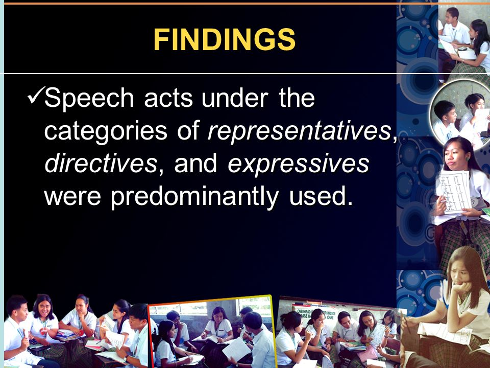 FINDINGS Speech acts under the categories of representatives, directives, and expressives were predominantly used.