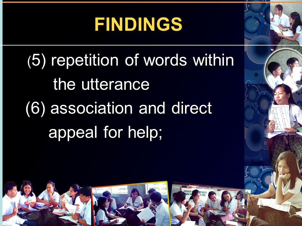 FINDINGS the utterance (6) association and direct appeal for help;