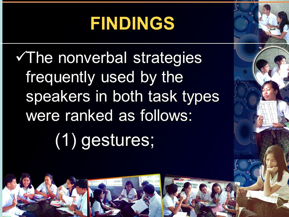 FINDINGS The nonverbal strategies frequently used by the speakers in both task types were ranked as follows: