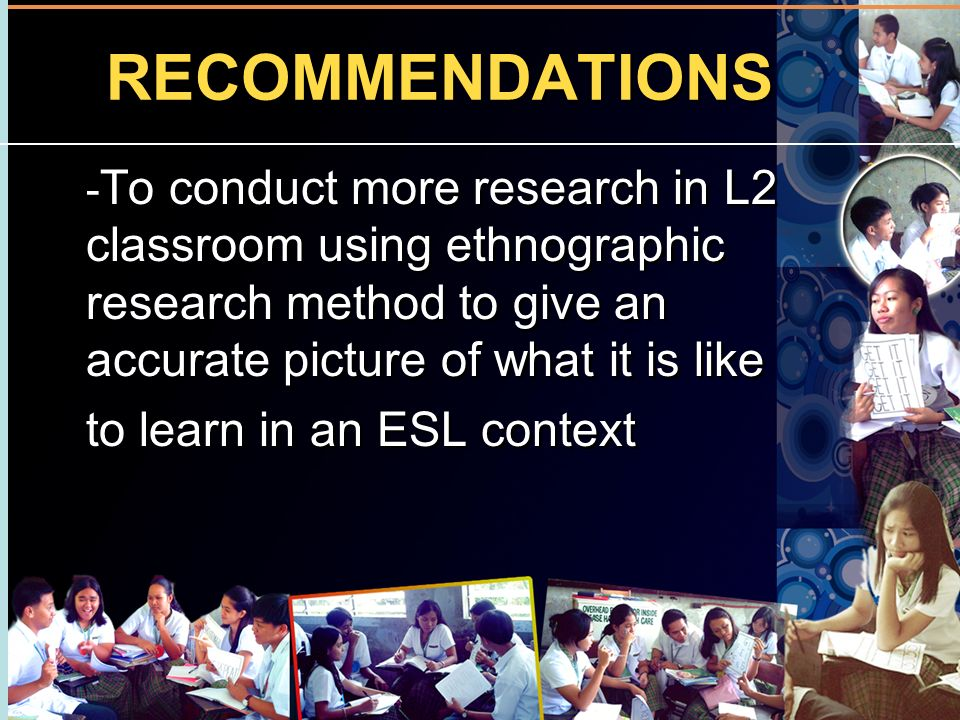 RECOMMENDATIONS to learn in an ESL context