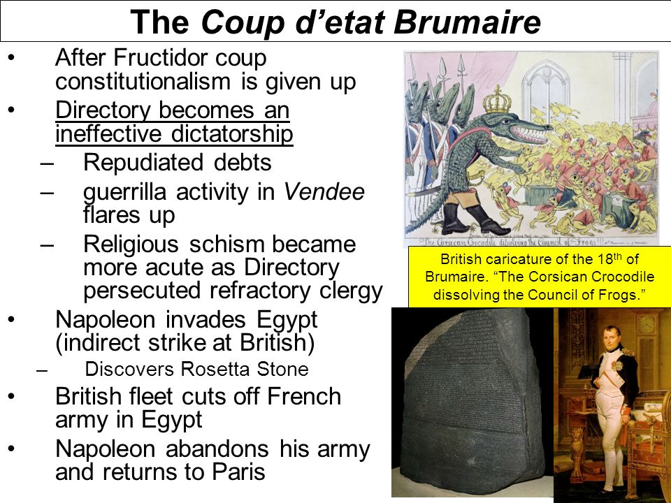 napoleons seizure of power in the coup of brumaire essay Coup of 18–19 brumaire, (november 9–10, 1799), coup d'état that overthrew the  system of  the consulate, making way for the despotism of napoleon bonaparte   year viii (november 9, 1799), by which napoleon bonaparte seized power.