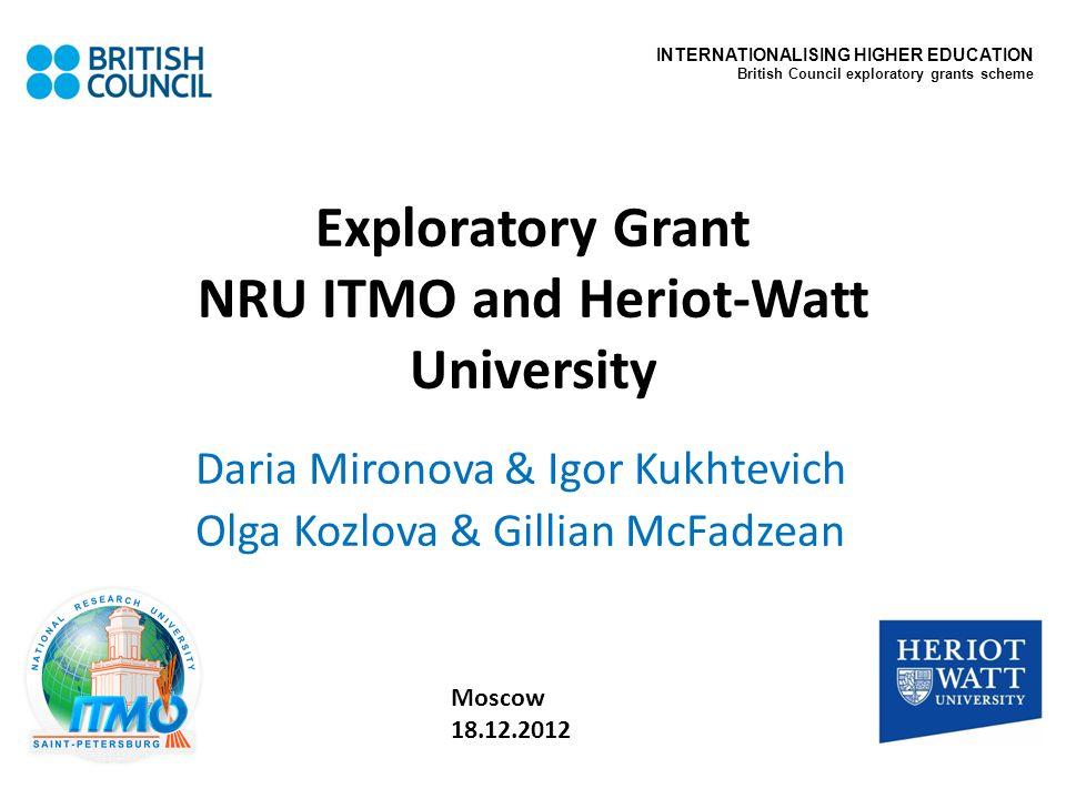Exploratory Grant NRU ITMO and Heriot-Watt University