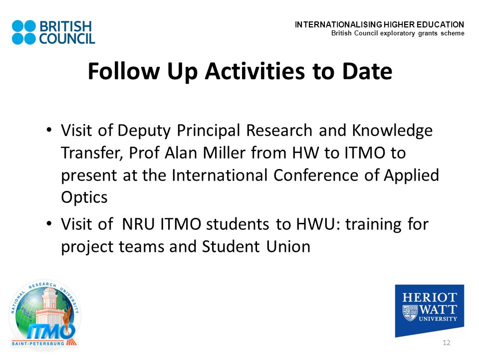 Follow Up Activities to Date