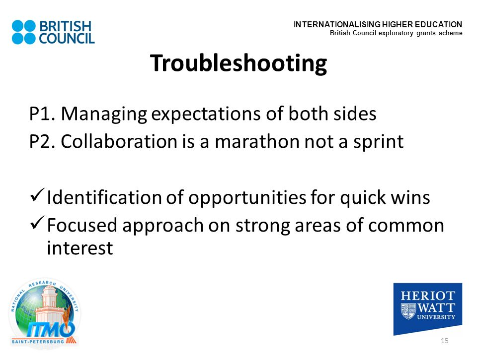 Troubleshooting P1. Managing expectations of both sides