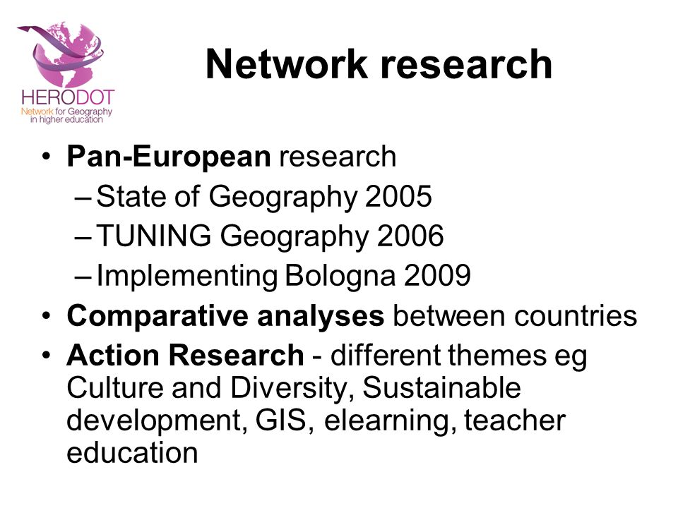 Network research Pan-European research State of Geography 2005