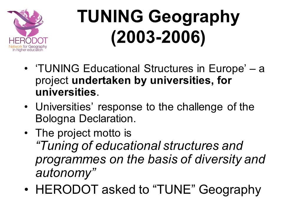 TUNING Geography (2003-2006) HERODOT asked to TUNE Geography