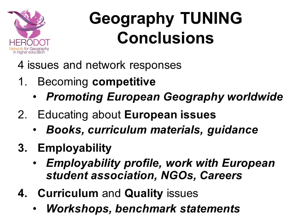 Geography TUNING Conclusions