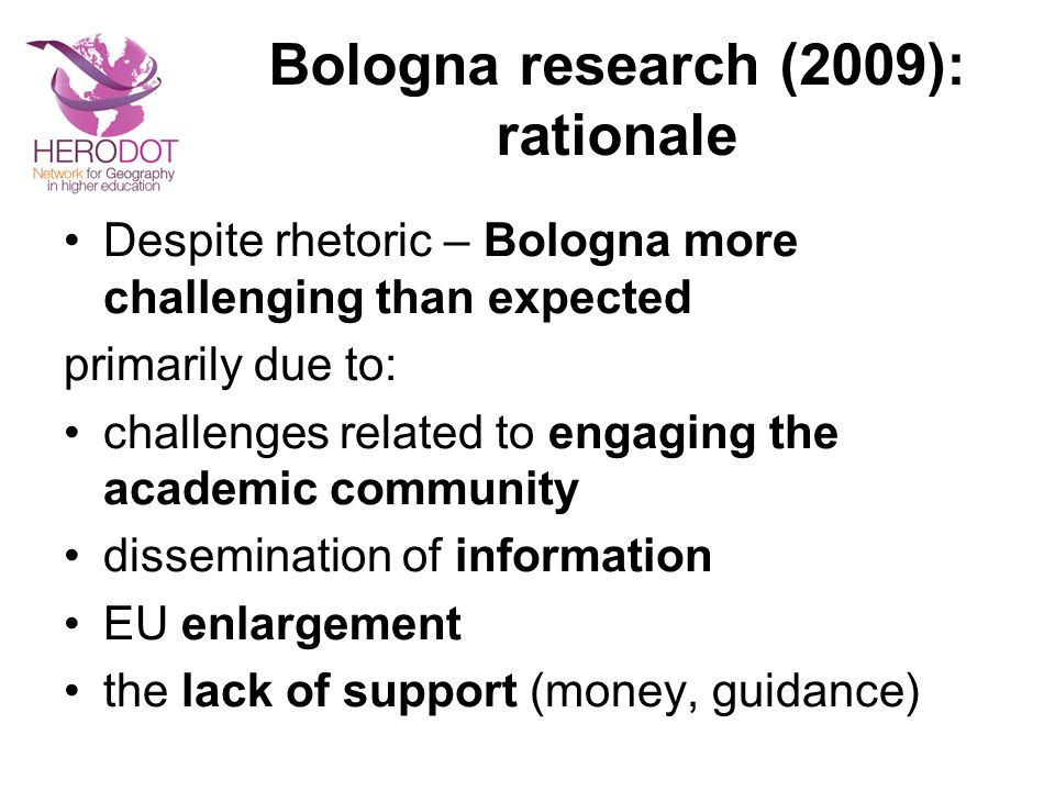 Bologna research (2009): rationale