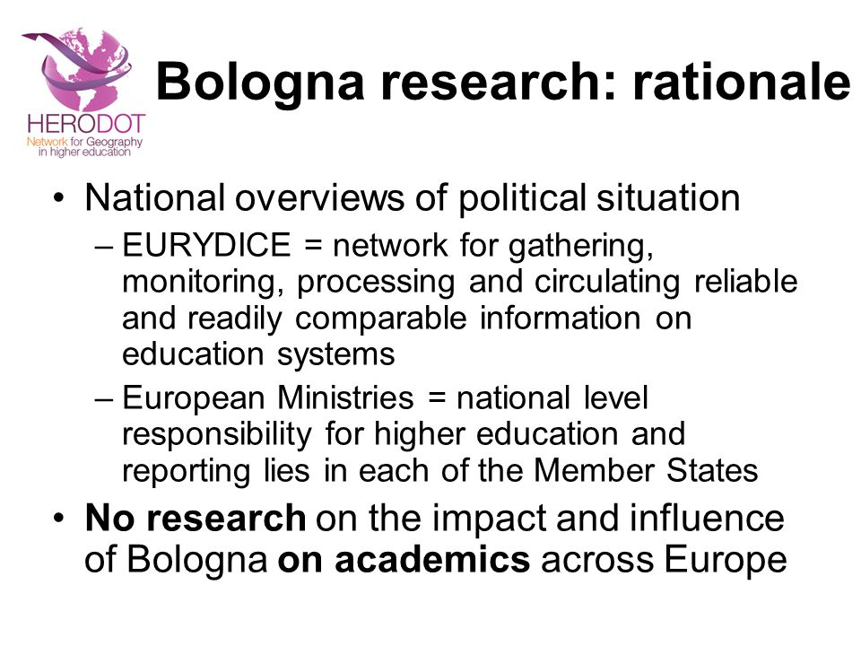 Bologna research: rationale
