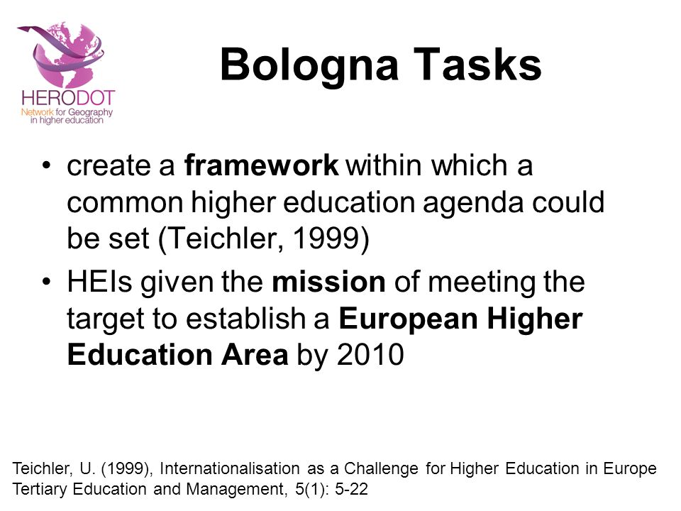 Bologna Tasks create a framework within which a common higher education agenda could be set (Teichler, 1999)