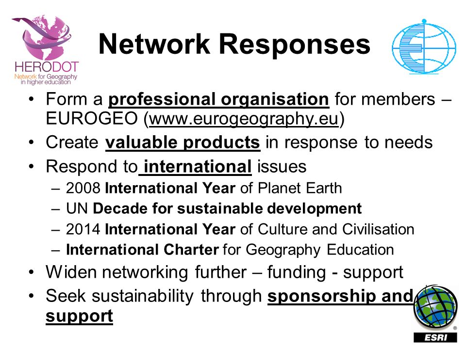 Network Responses Form a professional organisation for members – EUROGEO (www.eurogeography.eu) Create valuable products in response to needs.