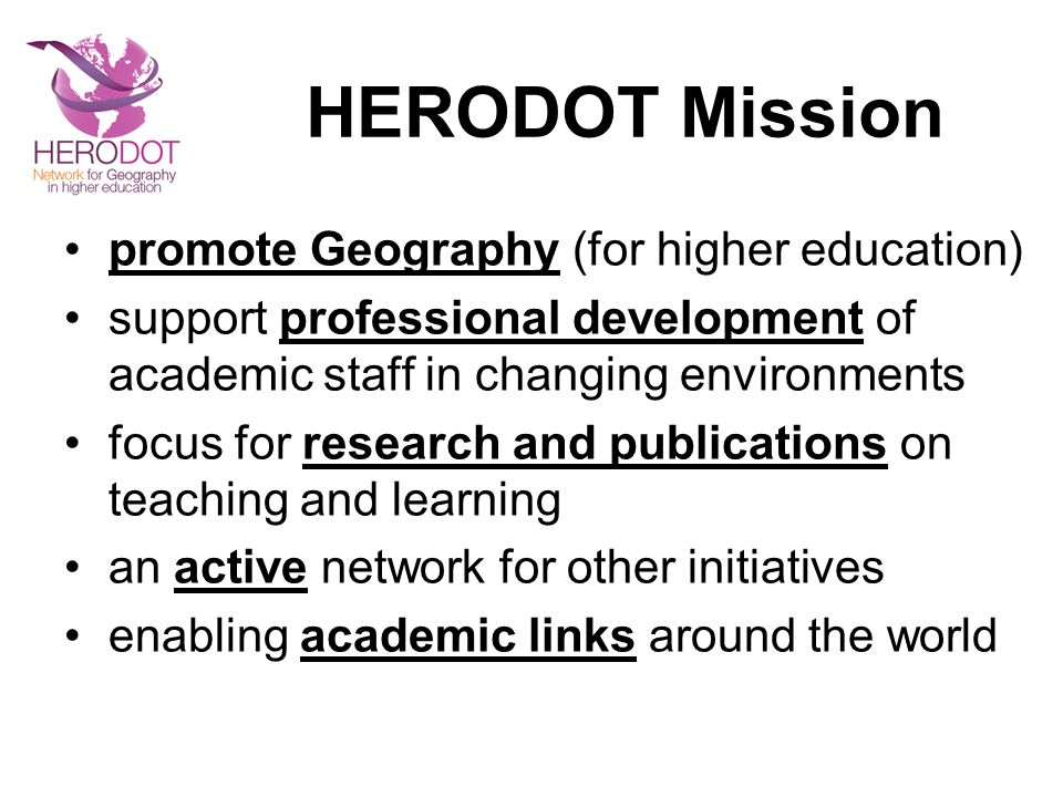 HERODOT Mission promote Geography (for higher education)