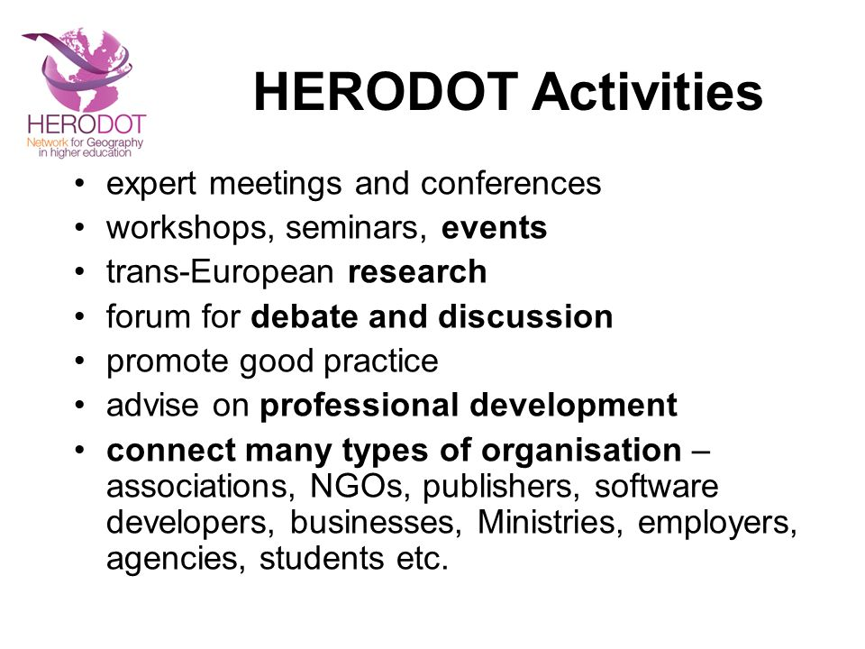 HERODOT Activities expert meetings and conferences